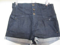 Topshop Moto Dark Blue Indigo Denim High Waist Shorts in Size 8 / W28