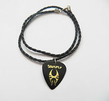 SOULFLY guitar pick plectrum braided LEATHER NECKLACE 20""