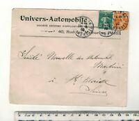 FRANCE 1909. UNVERS AUTOMOBILE ENVELOPE TO SWITZERLAND.