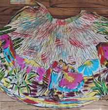 Vtg 50s Mexico Mexican Hand Painted Circle Skirt Sz Xs/S Vlv Tiki man woman