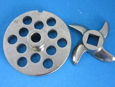 "#22 x 1/2"" w/ HUB Meat Grinder Plate & KNIFE for Hobart Weston LEM Cabelas etc"