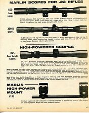 1976 Print Ad of Marlin 500 300B & 825 High Powered Rifle Scope & Mount