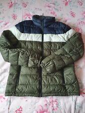 Next Mens Padded Jacket Khaki/blue/white M pre Owned