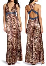Jessica Simpson Leopard  V-Neck Beaded Halter Cocktail Maxi Dress, 8R - $198