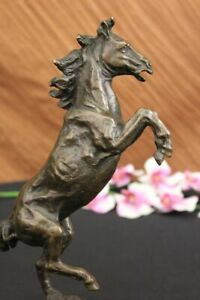 Signed Art Deco Rearing Horse Bronze Sculpture Marble Base Statue Lost Wax Decor