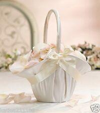Wedding large ivory satin bow flower girl basket