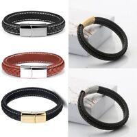 Fashion Men's Punk Stainless Steel Chain Wristband Clasp Cuff Bangle Bracelet