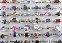 wholesale Jewelry lots 20pcs Big Cubic zircon Silver P Women Top Color Ring free