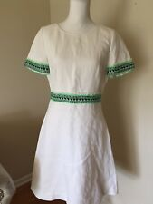 J.CREW NEW COLLECTION NEON-TRIMMED DRESS WHITE A-LINE SIZE 6 A6238 $595 SOLD OUT