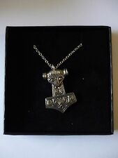 """w47 Thor's Hammer Made From Fine Pewter On 20"""" Silver Plated Curb Necklace"""