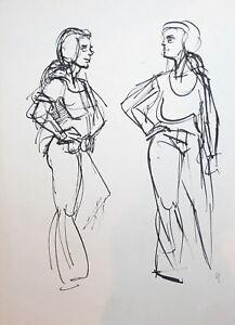 Vintage ink drawing woman figures