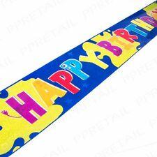6x LONG BLUE HAPPY BIRTHDAY BANNERS/SIGNS Boys Party Design 2.5ft/70cm Monster