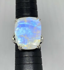 Moonstone 925 Sterling Silver Giant Natural Flat Rainbow Cabochon Ring Size 8 Ja