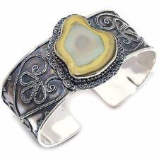 Imperial Jasper Gemstone Vintage 925 Sterling Silver Cuff Bracelet Adjustable