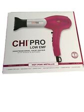 New! CHI Pro Low Emf Hair Dryer w/ Nozzle & Diffuser Hot Pink Metallic Ceramic