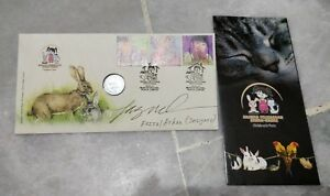 2011 Malaysia Children Pets Rabbit Year stamp FDC with Rabbit Coin Designer Sign