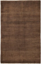 4X6 Hand-Knotted Gabbeh Carpet Modern Brown Fine Wool Area Rug D44544