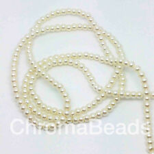 3mm Glass Faux Pearls Strand - Ivory (230 Beads) Jewellery Making Craft