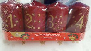 4 Adventskerzen 100/57 mit Zahlendruck u.Sternen bordeaux /BSS-Durchbrandsperre