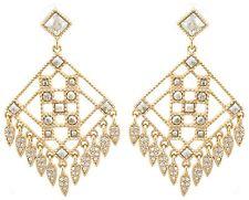 Zest Geometric Diamond Shaped Swarovski Crystal Pierced Earrings Golden