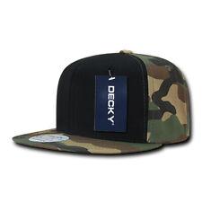 Flat Bill Snapback Cap - Woodland Camo, Black, Cotton Hat (Decky 1049-WBW, New)