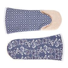 Crisp & Dene Floral Blue Gauntlet Oven Glove, 100% Cotton