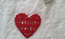 JOHN LEWIS - BNWT - Red Metal Heart Hanging Decoration - Forever Yours - Wedding