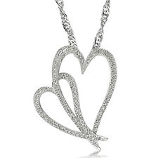 Double Heart Necklace W/Genuine Diamond in Platinum Plated 925 Sterling Silver