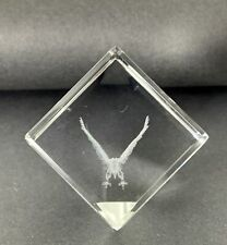 Block Clear Cube Laser Etched Paperweight - Eagle in Flight 155g
