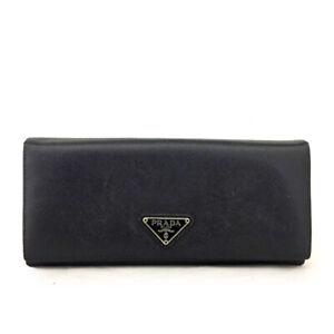PRADA Logo Plate Black Leather Long Bifold Wallet/E0823