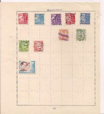10 DENMARK stamps on an album page.