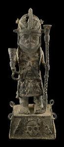 Statue African Fighter Dignitary Ife 30 CM Kingdom Edo Of Benin Bronze 16905