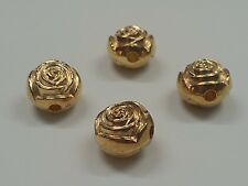 4 CCB Style Acrylic Flower Beads, Golden, 16x13mm, Hole: 3mm