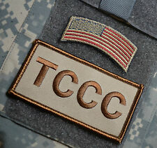 BATTLEFIELD MEDIC TACTICAL COMBAT CASUALTY CARE VEL©®😎 INSIGNIA: TCCC + US Flag