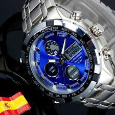 Reloj De Hombre Luz LED Digital con Fecha y Crono Para Hombres Acero Analogico