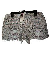 Hue Paisley Frayed Hem Denim Short Shorts SZ L (12-14)