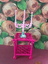 BARBIE  DOLL HOUSE DIORAMA  PINK & SILVER CANDLELABRA CANDLES