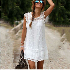 Women Lace Dress Fashion Summer Casual Sleeveless Party Dresses Clothing Size L
