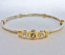 Designer ? 14K White & Yellow Gold Bracelet w/ Yellow & White Sapphires  (14g)