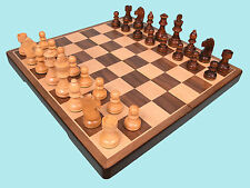 Wooden Folding Chess Set With Walnut and Sycamore Veneer - 75mm King - Ref:00268