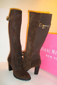 Issac Mizrahi New York Womens NWB Geogina Dk Brown Suede Boots Shoes 5.5 Med NEW