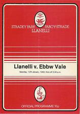 Llanelli V ebbw vale 12 GEN 1980 RUGBY programma