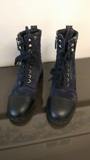 Chanel Combat Boots, Navy Suede, 39.5