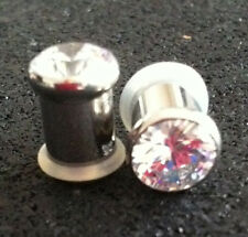 CLEAR GEM FLARE TUNNEL w/Clear O-Ring Pair 4G Piercing Jewelry NEW &UNOPENED