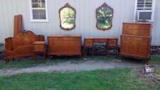 Antique French Satinwood 7 pc Bedroom Suite Set w/ Brass Pulls & Floral Inlay