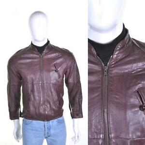 VINTAGE 70s Leather Biker Jacket S Cafe Racer Bomber Oxblood Red 1970s