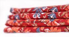 5 yards Indian Fabric Red Flower Print 100% Cotton Fabric Yard Hand Block Print