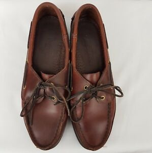 Sebago Womens Slip On Leather Comfort Flats Boat Shoes SZ 9.5 Brown Old Town