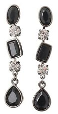 £40 Art Deco Silver Black Long Tear Drop Earrings Swarovski Elements Crystal