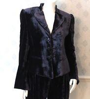 Women's Armani Collezioni Navy Blue Velvet Jacket and Pants Suit Set